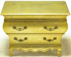 Henredon Pair of Henredon Gold Toned Silver Leaf Bombe Two Drawer Commodes - 278492