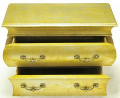 Henredon Pair of Henredon Gold Toned Silver Leaf Bombe Two Drawer Commodes - 278493