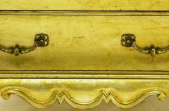 Henredon Pair of Henredon Gold Toned Silver Leaf Bombe Two Drawer Commodes - 278494