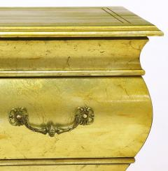 Henredon Pair of Henredon Gold Toned Silver Leaf Bombe Two Drawer Commodes - 278495