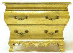 Henredon Pair of Henredon Gold Toned Silver Leaf Bombe Two Drawer Commodes - 278496