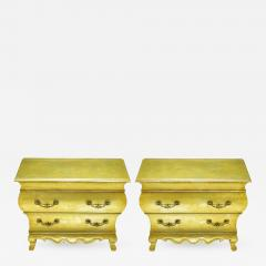 Henredon Pair of Henredon Gold Toned Silver Leaf Bombe Two Drawer Commodes - 383457
