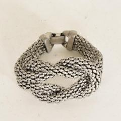Herm s Art Deco Period Sculptural Aluminum Braided Bracelet - 888033