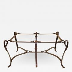 Herm S Elegant Hermes Style Faux Leather Wrought Iron Coffee Table Base    535014