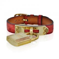 Herm s HERMES KELLY STAINLESS STEEL RED LIZARD STRAP WITH GOLD TONE DIAL WATCH - 1828832