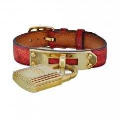 Herm s HERMES KELLY STAINLESS STEEL RED LIZARD STRAP WITH GOLD TONE DIAL WATCH - 1829294