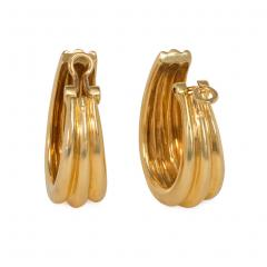 Herm s Herm s Estate Gold Tapered Hoop Earrings - 1879970