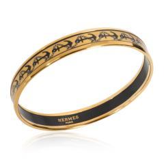 Herm s Herm s Gold Plated Narrow Enamel Bangle - 1842129