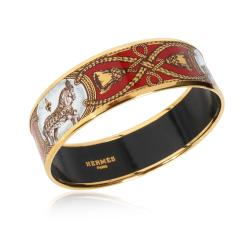 Herm s Herm s Grand Apparat Gold Plated Wide Enamel Bangle - 1842126