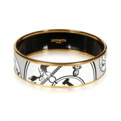Herm s Hermes Wide Enamel Gold Plated Bangle - 1842171