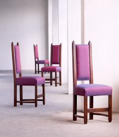 Herm s Set of Four Amsterdam School Dining Chairs Newly Upholstered in Herm s Fabric - 444380