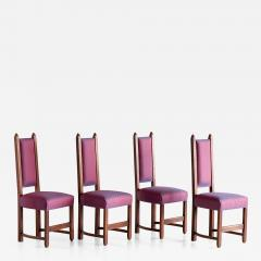 Herm s Set of Four Amsterdam School Dining Chairs Newly Upholstered in Herm s Fabric - 444737