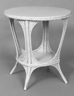 Heywood Wakefield American White Painted Wicker Oval End Table by Heywood Wakefield - 598985