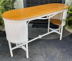 Heywood Wakefield Rare Antique Heywood Wakefield American Mission Natural Wicker Davenport Table - 2126596