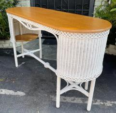 Heywood Wakefield Rare Antique Heywood Wakefield American Mission Natural Wicker Davenport Table - 2126601