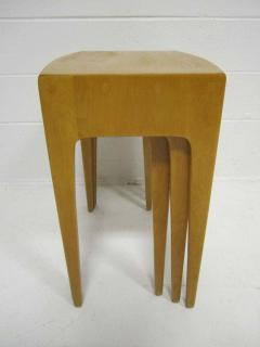 Heywood Wakefield Rare Set of Heywood Wakefield Solid Maple Mid Century Modern Nesting Tables - 1843563