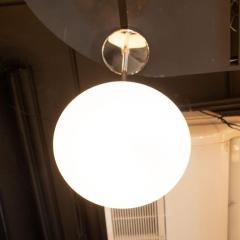 High Style Deco Modernist Chrome Pendant With Opaque White Glass Shade by High Style Deco - 1559931