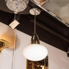 High Style Deco Modernist Chrome Pendant With Opaque White Glass Shade by High Style Deco - 1559935