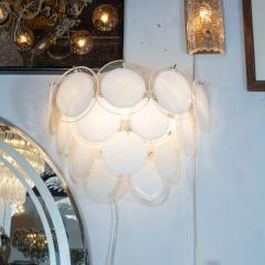 High Style Deco Pair of Modernist 14 Disc Sconces in Hand Blown Murano White Translucent Glass - 1579060