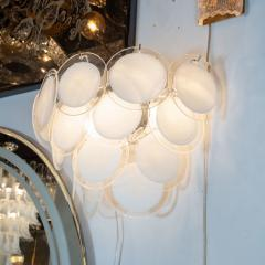 High Style Deco Pair of Modernist 14 Disc Sconces in Hand Blown Murano White Translucent Glass - 1579061