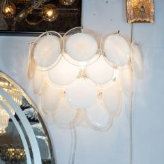 High Style Deco Pair of Modernist 14 Disc Sconces in Hand Blown Murano White Translucent Glass - 1579062