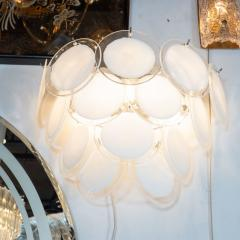 High Style Deco Pair of Modernist 14 Disc Sconces in Hand Blown Murano White Translucent Glass - 1579063