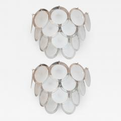 High Style Deco Pair of Modernist 14 Disc Sconces in Hand Blown Murano White Translucent Glass - 1580263