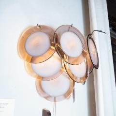 High Style Deco Pair of Modernist 9 Disc Handblown Murano Amethyst Translucent Glass Sconces - 1579141