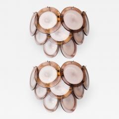 High Style Deco Pair of Modernist 9 Disc Handblown Murano Amethyst Translucent Glass Sconces - 1580274
