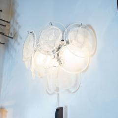 High Style Deco Pair of Modernist 9 Disc Handblown Murano Clear Translucent Glass Sconces - 1579136