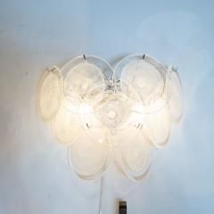 High Style Deco Pair of Modernist 9 Disc Handblown Murano Clear Translucent Glass Sconces - 1579137
