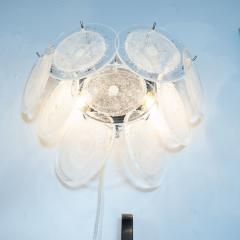 High Style Deco Pair of Modernist 9 Disc Handblown Murano Clear Translucent Glass Sconces - 1579138