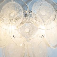 High Style Deco Pair of Modernist 9 Disc Handblown Murano Clear Translucent Glass Sconces - 1579139