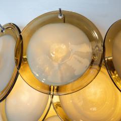 High Style Deco Pair of Modernist 9 Disc Handblown Murano Topaz Translucent Glass Sconces - 1579324