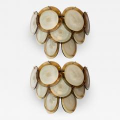 High Style Deco Pair of Modernist 9 Disc Handblown Murano Topaz Translucent Glass Sconces - 1580283