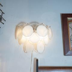 High Style Deco Pair of Modernist 9 Disc Handblown Murano White Translucent Glass Sconces - 1579315