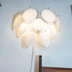 High Style Deco Pair of Modernist 9 Disc Handblown Murano White Translucent Glass Sconces - 1579317