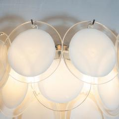 High Style Deco Pair of Modernist 9 Disc Handblown Murano White Translucent Glass Sconces - 1579318