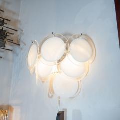High Style Deco Pair of Modernist 9 Disc Handblown Murano White Translucent Glass Sconces - 1579321