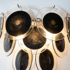 High Style Deco Pair of Modernist 9 Disc Sconces in Handblown Murano Black Translucent Glass - 1579042