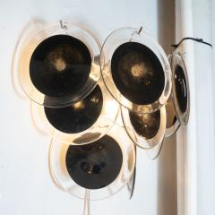 High Style Deco Pair of Modernist 9 Disc Sconces in Handblown Murano Black Translucent Glass - 1579043