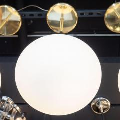 High Style Deco Set of Three Custom Modernist Brass Frosted Glass Pendants by High Style Deco - 1559924
