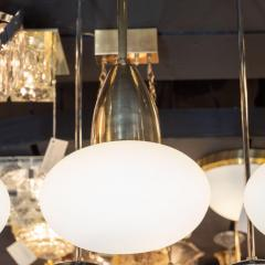 High Style Deco Set of Three Custom Modernist Brass Frosted Glass Pendants by High Style Deco - 1559927