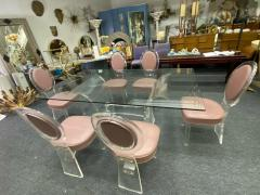 Hill Manufacturing MODERNIST LUCITE DINING TABLE AND SIX LUCITE DINING CHAIRS - 1847888