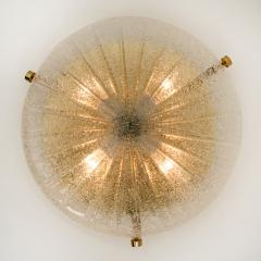 Hillebrand 1 of the 6 Thick Massive Handmade Glass Brass Flush Mount or Wall Lights 1960 - 1182092