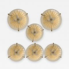 Hillebrand 1 of the 6 Thick Massive Handmade Glass Brass Flush Mount or Wall Lights 1960 - 1182199