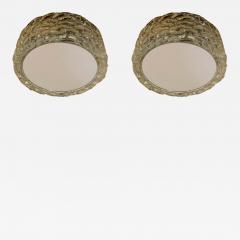 Hillebrand Pair Hillebrand 1970s High Style Murano Glass Flush Ceiling Lights - 1627589