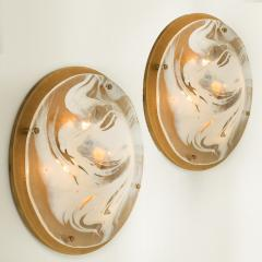 Hillebrand Pair of Large Murano Glass Wall Lights Flush Mounts by Hillebrand 1960 - 1027290