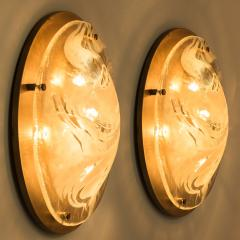 Hillebrand Pair of Large Murano Glass Wall Lights Flush Mounts by Hillebrand 1960 - 1027292