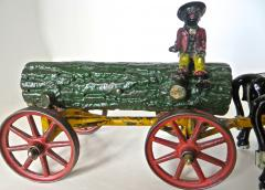 Hubley American Cast Iron Toy Oxen Drawn Log on Carriage with Rider Hubley Ca 1906 - 531590